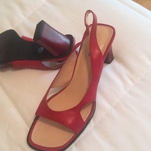Red open toe heels